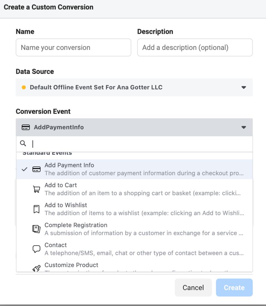 Facebook conversion custom events
