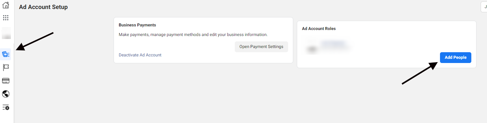 """Ad Account Setup: """"Add People"""" button in Ad Account Roles"""
