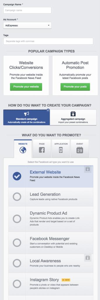 Building a Facebook ad campaign in AdEspresso