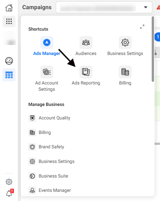 Navigating to ads reporting in Facebook Ads Manager