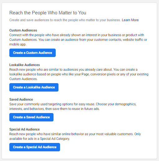Selecting an audience type in Facebook Ads Manager: custom audience, lookalike audience, saved audience, special ad audience