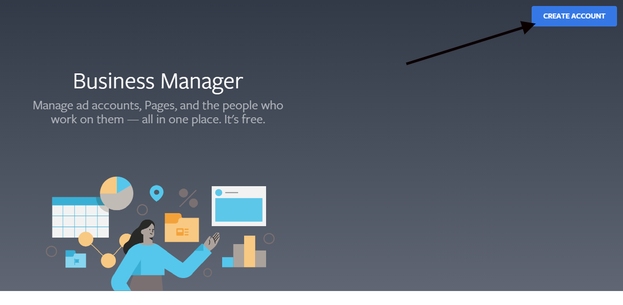 """Facebook business manager """"Create account"""" button"""