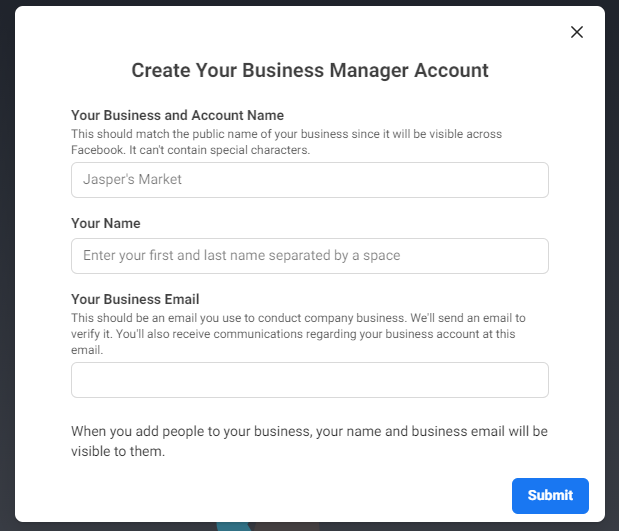 """Facebook Business Manager """"Create Your Business Manager Account"""" page"""