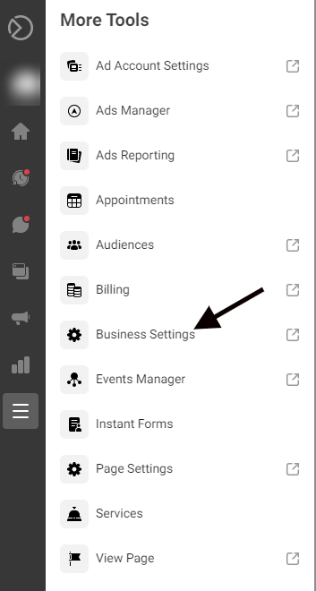 Business Settings in the Facebook Business Manager menu