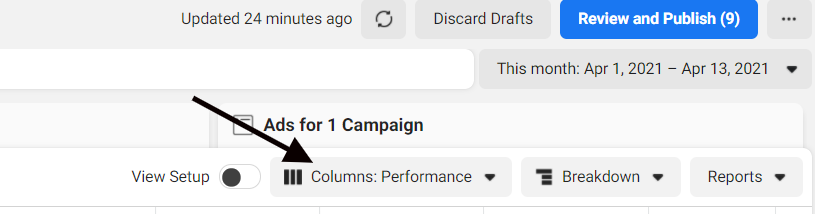 Customizing columns in Facebook Ads Manager reporting dashboard