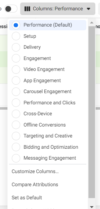 Drop-down list of columns available in the Facebook Ads Manager reporting dashboard