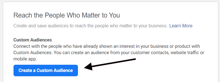 Navigating to the Custom Audience creator in Facebook Ads Manager