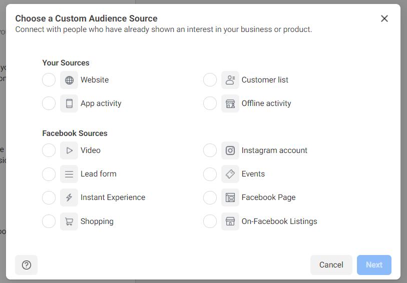 Choosing a Custom Audience Source: Web, App Activity, Customer List, Offline Activity, Facebook Sources