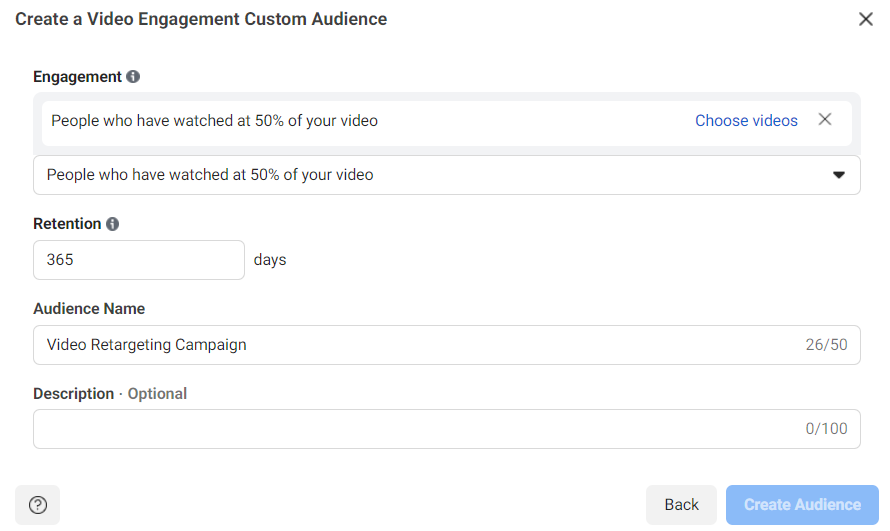 Creating a video engagement custom audience