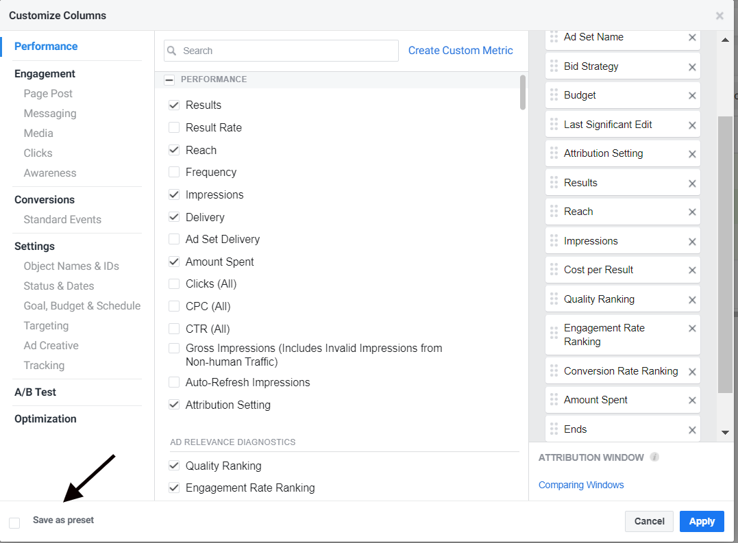 Customization options for Facebook Ads Manager reporting