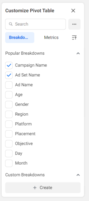 Pivot table customization options in Facebook Ads Manager