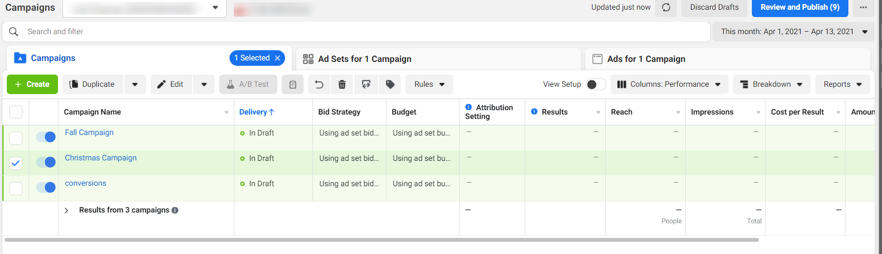 Campaign reporting dashboard in Facebook Ads Manager