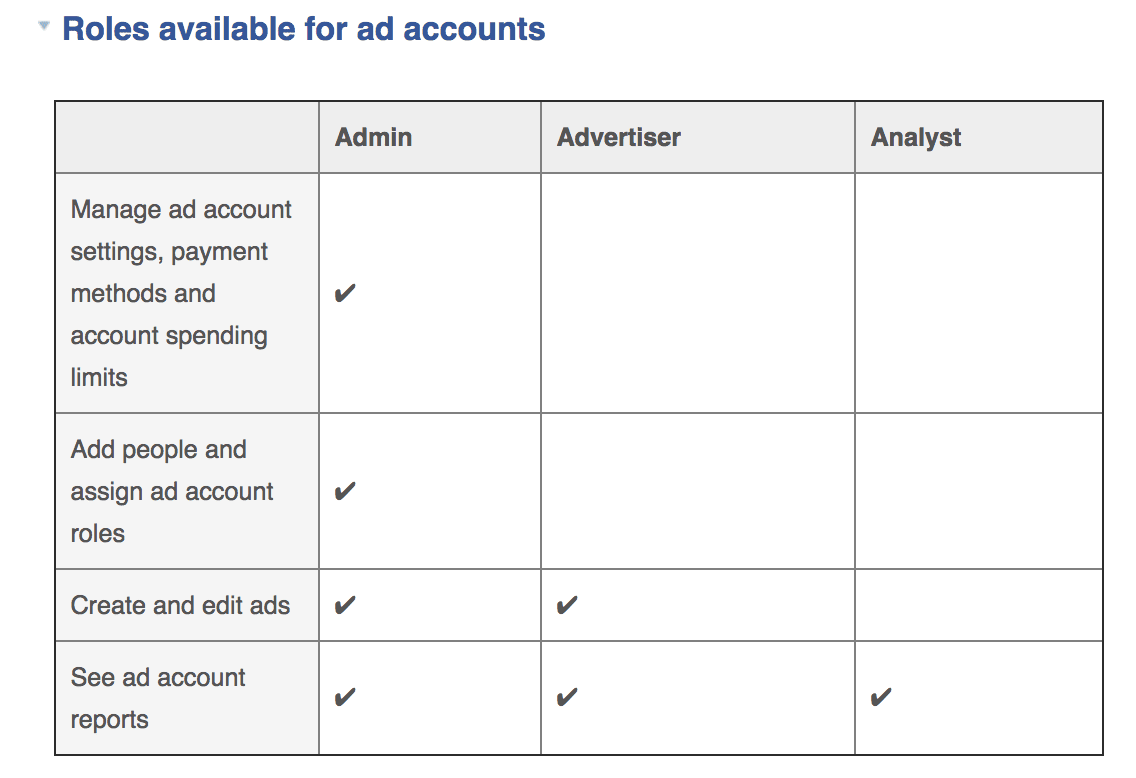 Roles available for ad accounts: Admin vs. Advertiser vs. Analyst