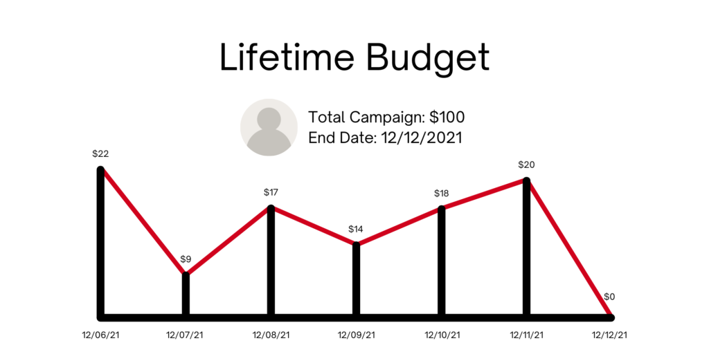 Lifetime budget graph showing the spend of a $100 campaign total budget over 7 days