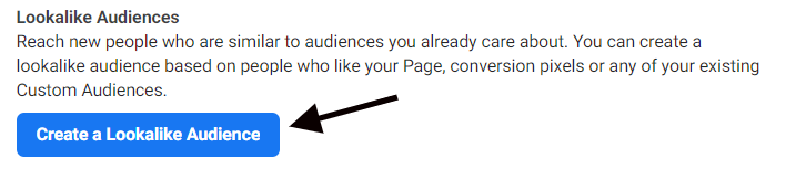 Navigating to the lookalike audience creator in Facebook Ads Manager