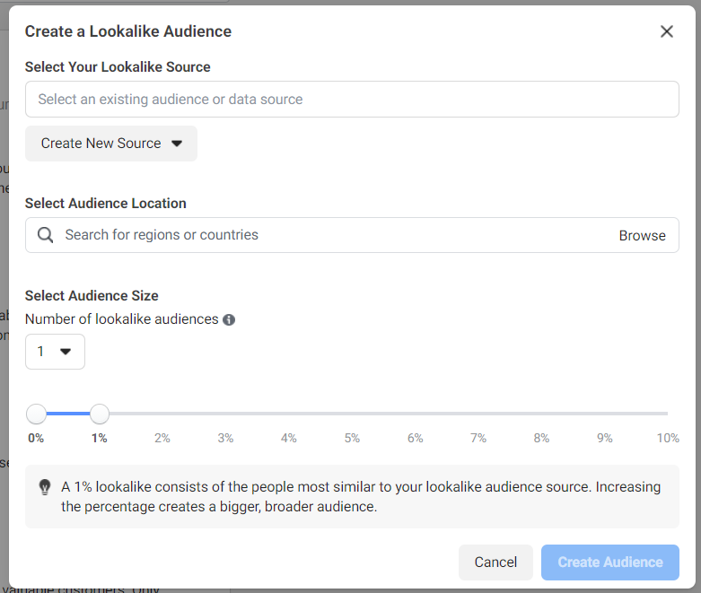 Lookalike audience creator in Facebook Ads Manager