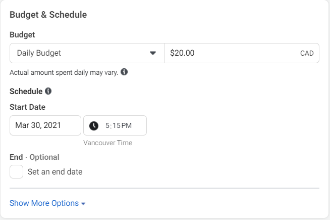 Budget and Schedule settings in Facebook Ads Manager