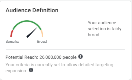 """Audience reach meter showing a scale of """"Specific"""" to """"Broad"""""""