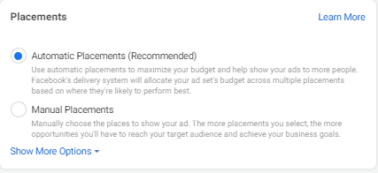 Choosing between automatic and manual ad placement selection in Facebook Ads Manager