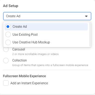 Ad setup in Facebook Ads Manager