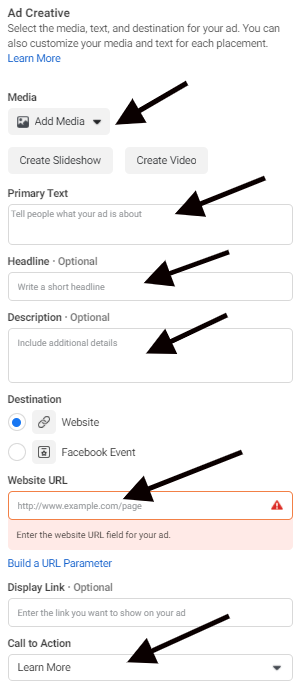 """Uploading media and adding copy in the """"Ad Creative"""" section in Facebook Ads Manager"""