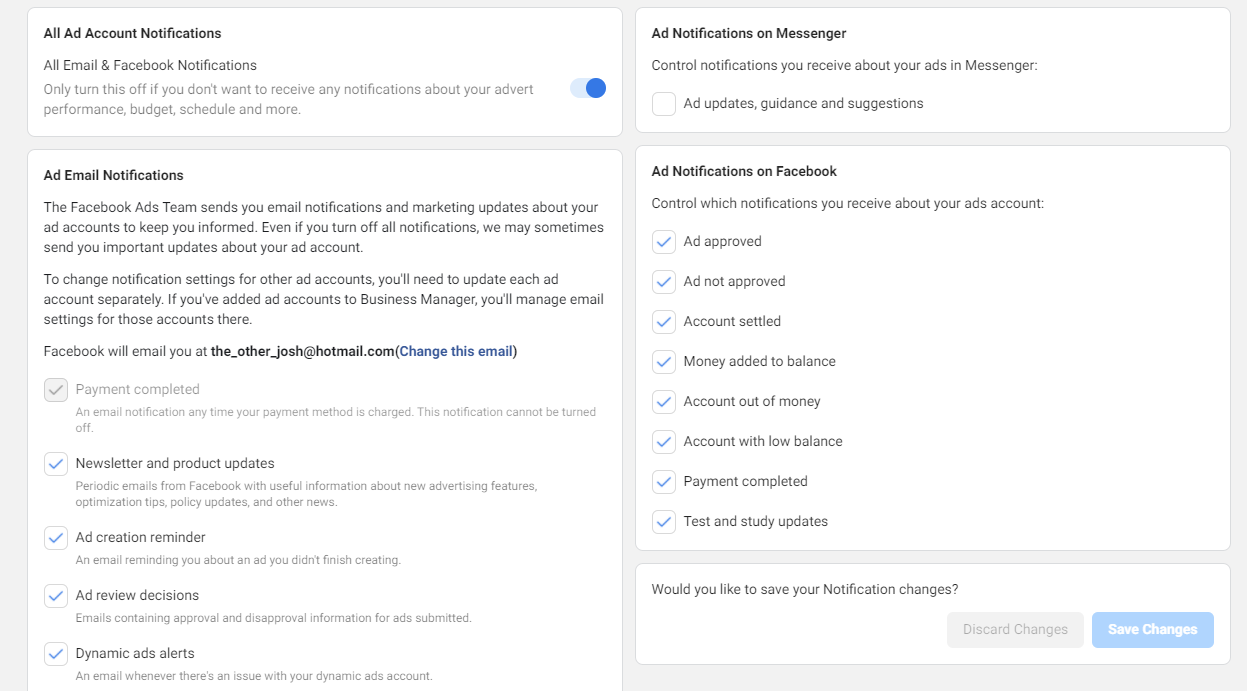 Notification settings in Facebook Business Manager