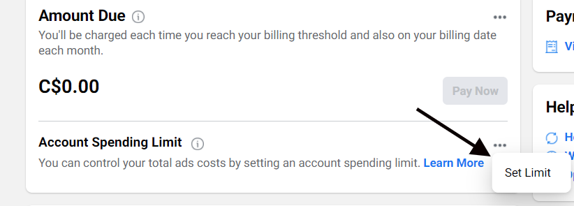 Option to set an account spending limit for your Facebook ads