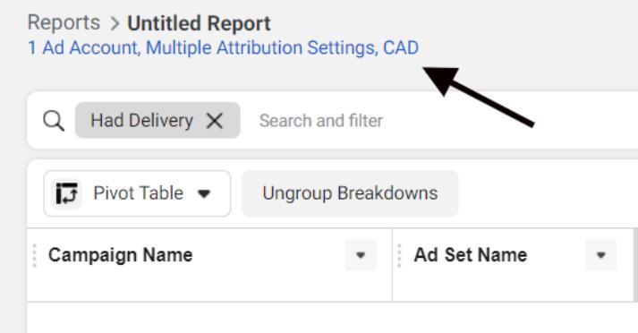 Report hyperlink in Facebook Ads Manager