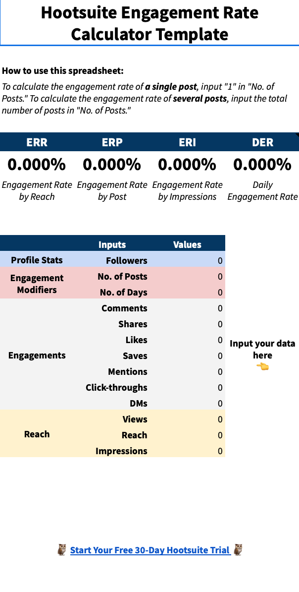 Hootsuite Instagram engagement rate calculator