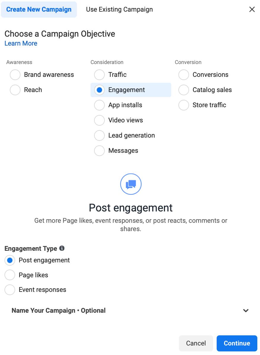 Instagram Ads engagement objective