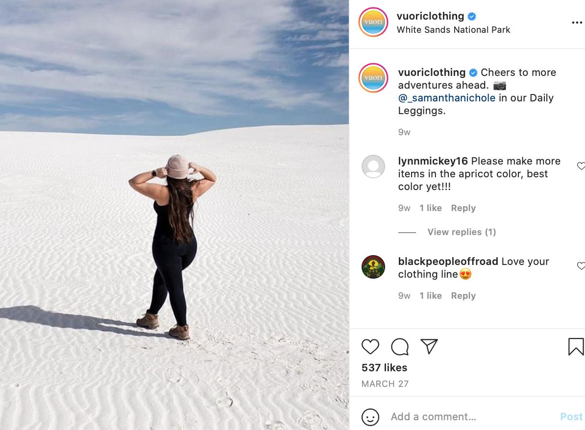 Instagram post featuring UGC