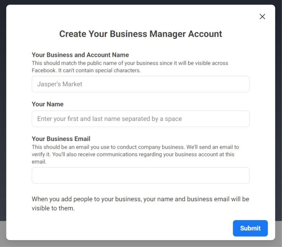 Filling in basic information in Business Manager account creator
