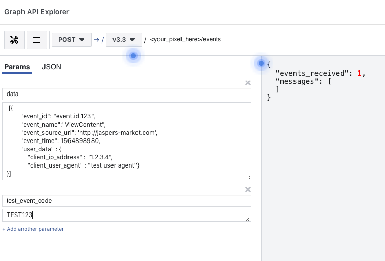 Setting up event test in Facebook Graph API Explorer