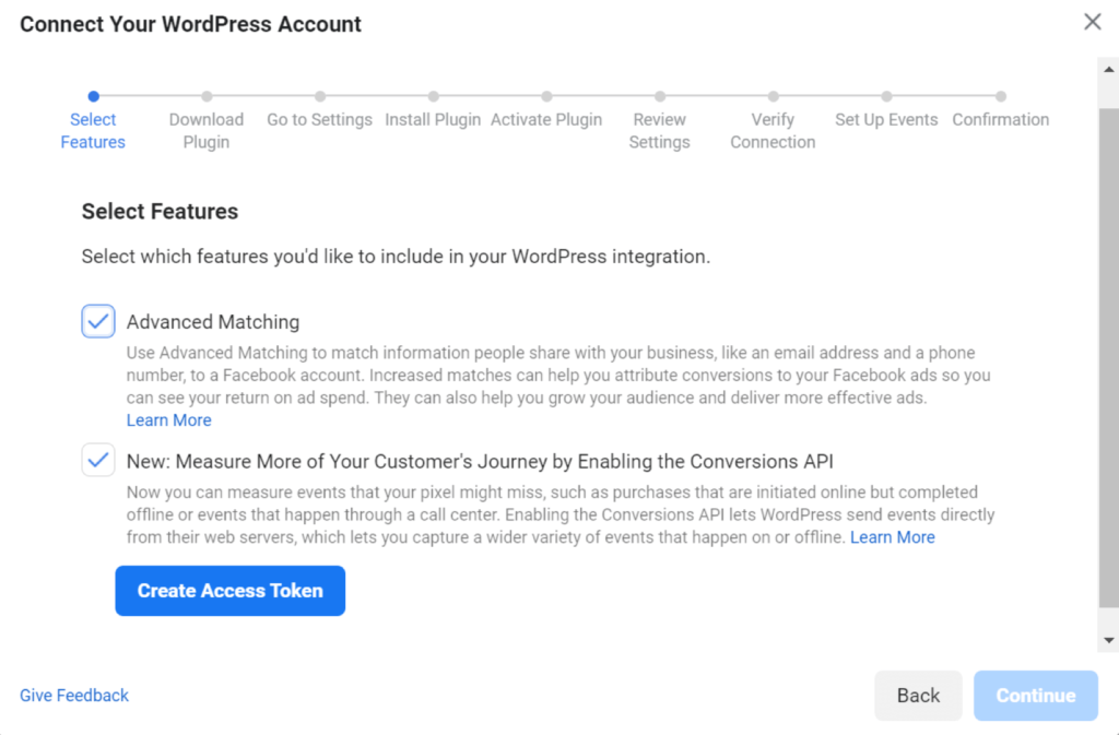 Connecting Facebook Conversions API with WordPress Account - setup screen in Facebook Business Manager