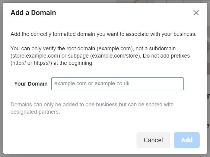 Adding a domain to Facebook Business Manager
