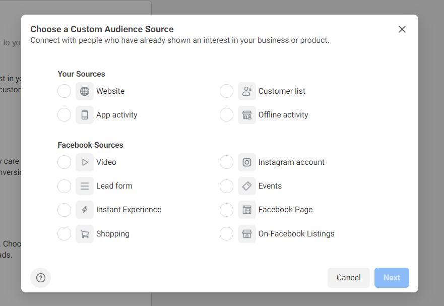 Custom audience creator on Facebook