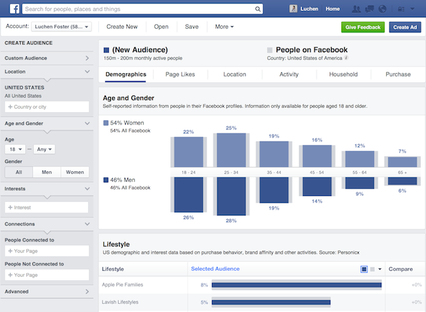 Facebook Audience Insights dashboard showing age, gender and lifestyle information.