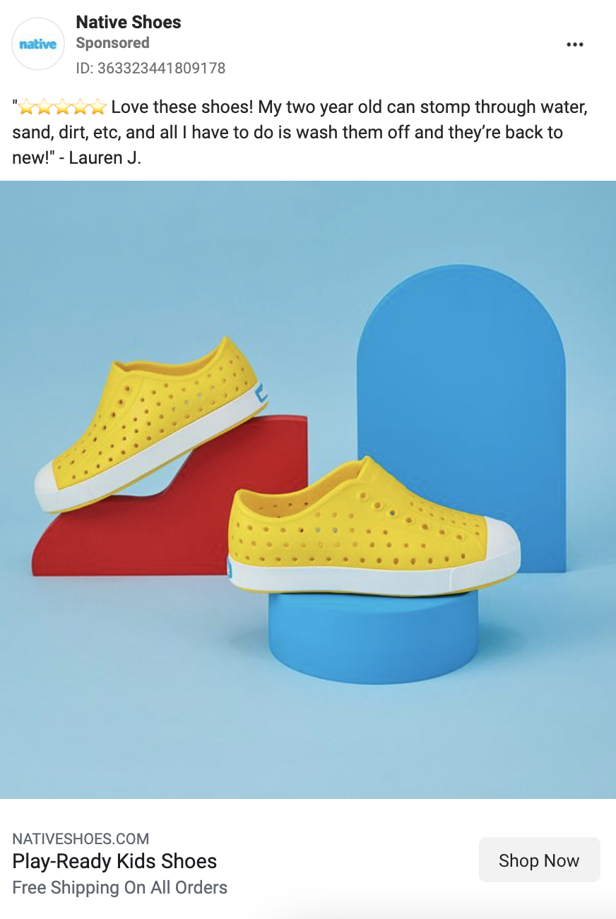 Facebook Ad promoting children's shoes from the brand Native Shoes. Ad copy includes a 5 star customer review. CTA includes information about free shipping.