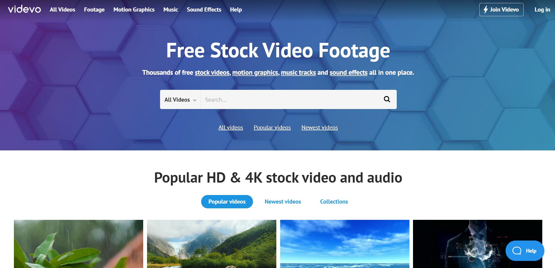 Free stock video platform Videvo