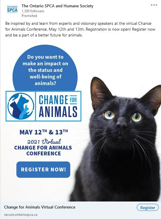 LinkedIn event ad example from Ontario SPCA