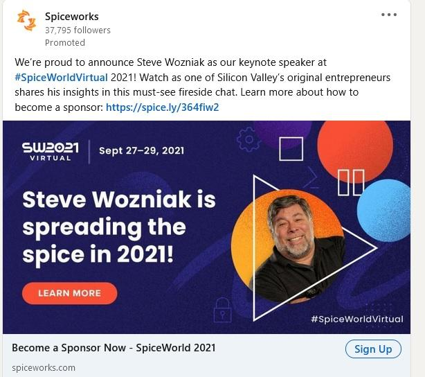 LinkedIn event ad example from Spiceworks