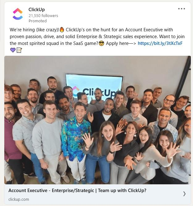 LinkedIn job ad example from ClickUp