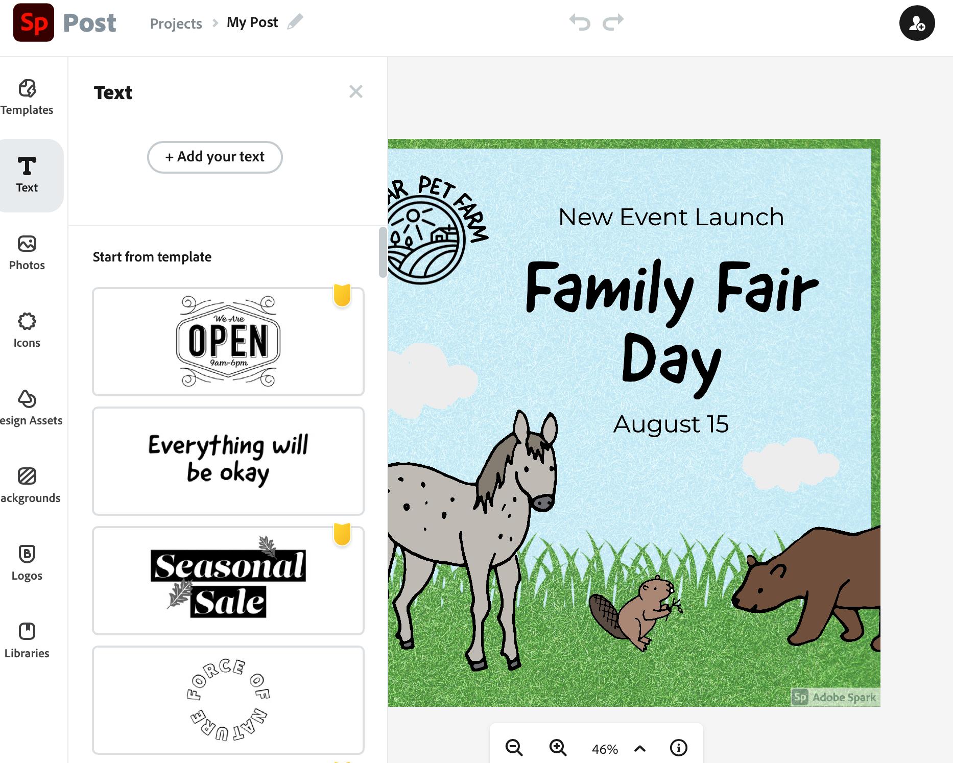 Adobe Spark Instagram Ad design tool