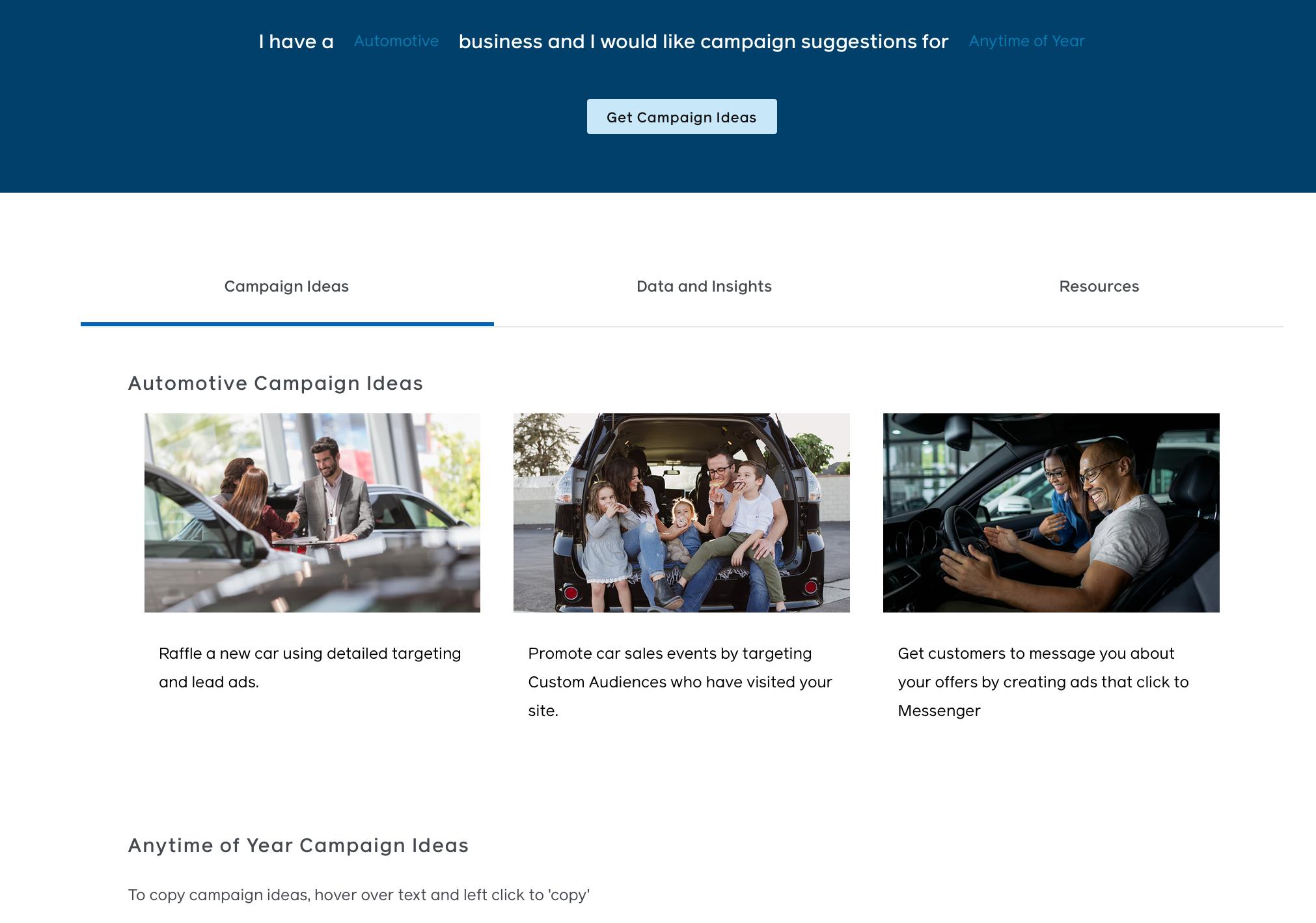 Facebook Campaign Ideas Generator
