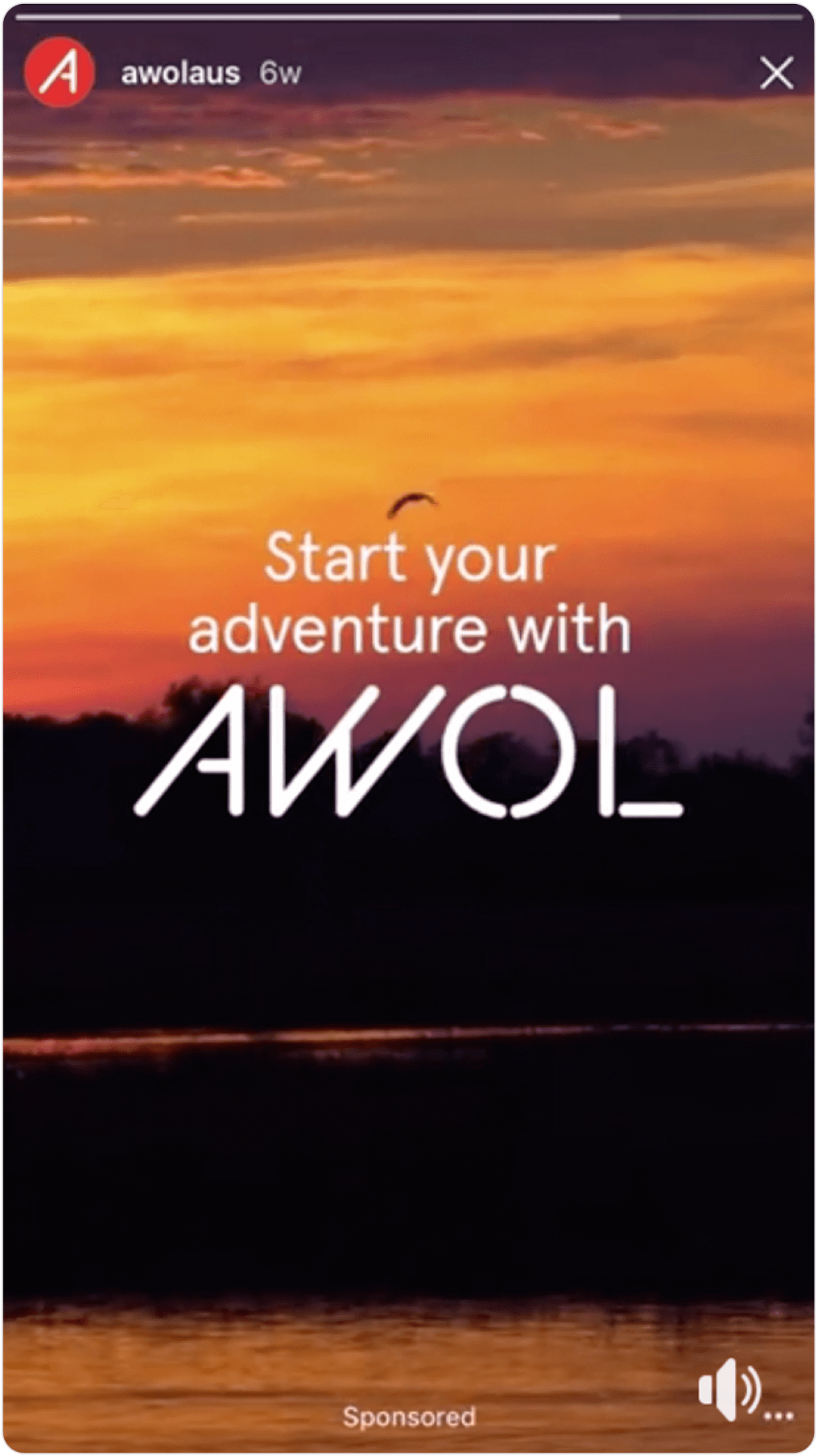 """Instagram Story screenshot of a sunset with the text """"Start your adventure with AWOL"""""""