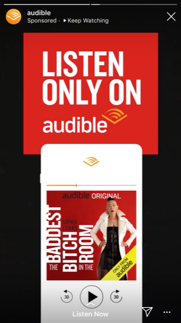 Instagram Story Audible ad