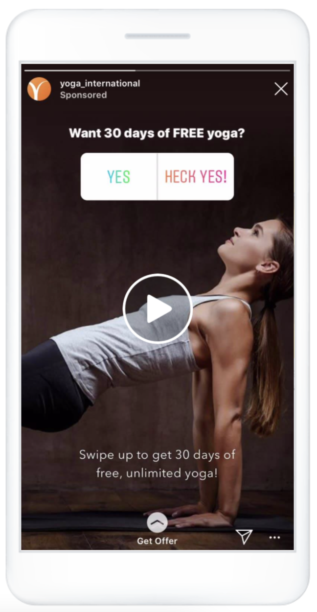 """Instagram Story ad with """"Get Offer"""" call to action"""