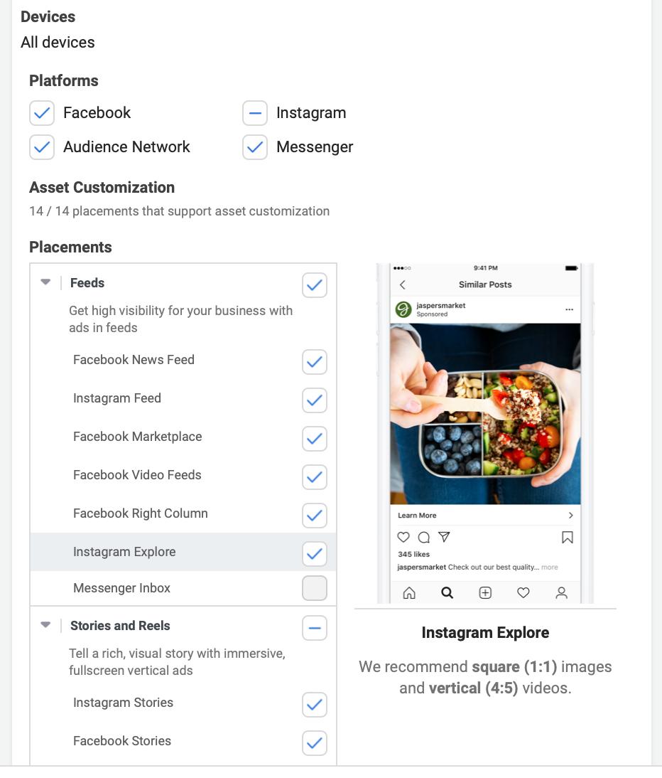 Instagram explore ads placement options