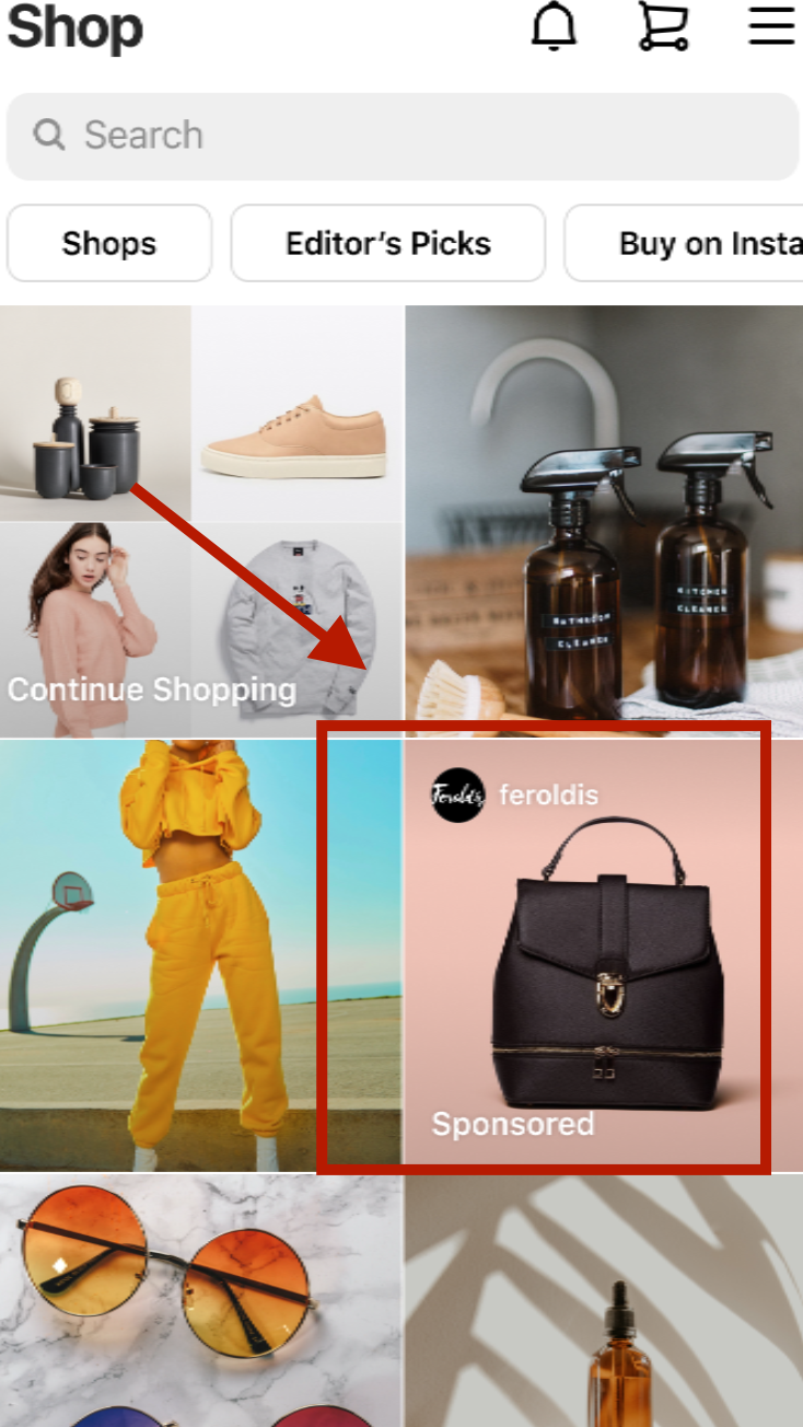 Facebook update: Instagram shop tab ad
