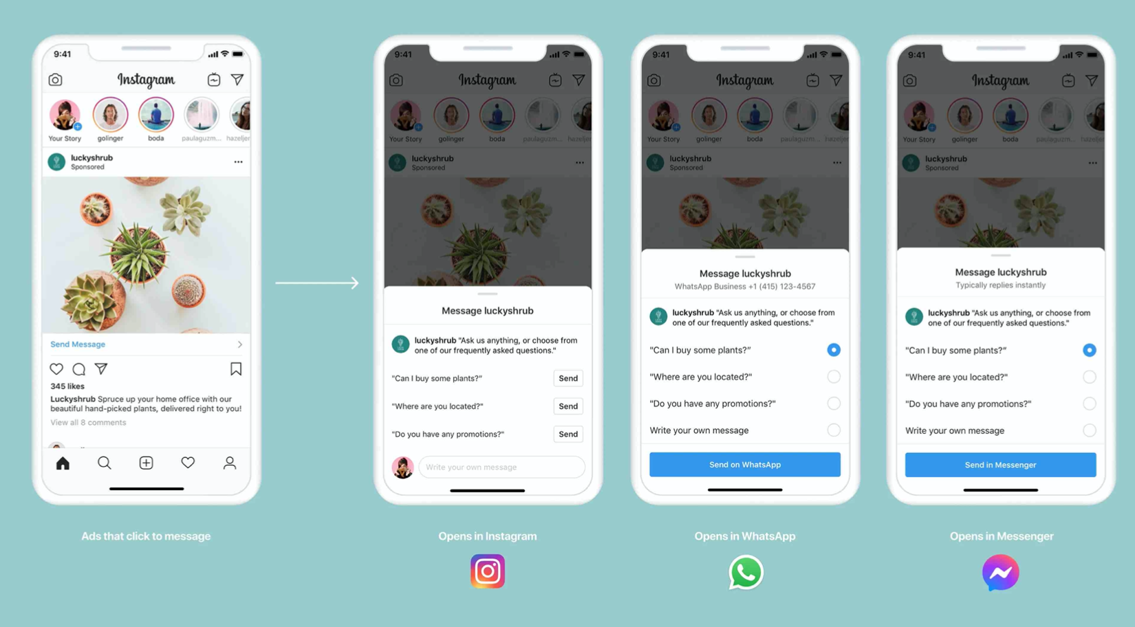 Facebook update to Messenger Ads allowing for multiple chat locations